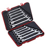 12 PC Single Joint Spherical Combination Ratcheting Wrench Set, Metric