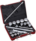 "3/4"" Dr. 21 PC Socket & Socket Accessories Set, Metric"
