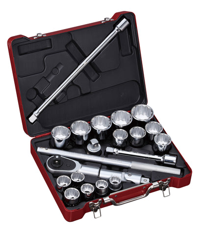 "3/4"" Dr. 21 PC Socket & Socket Accessories Set, Inch"