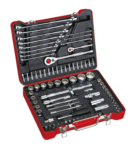 "1/4"", 1/2"" Dr. 84 PC Spline Socket & Wrench Set, Inch"