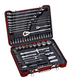 "1/4"", 1/2"" Dr. 87 PC Spline Socket & Wrench Set, Metric"