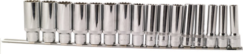 "Deep Socket Set Spherical, Metric, 1/2"" Dr. - 16 PCS"