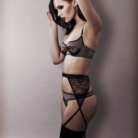 Caressed Contours Lace Suspender Belt