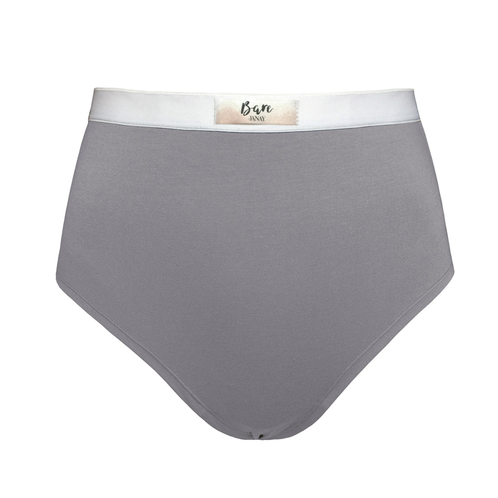 Bare Bamboo Beige Grey High Waisted Brief