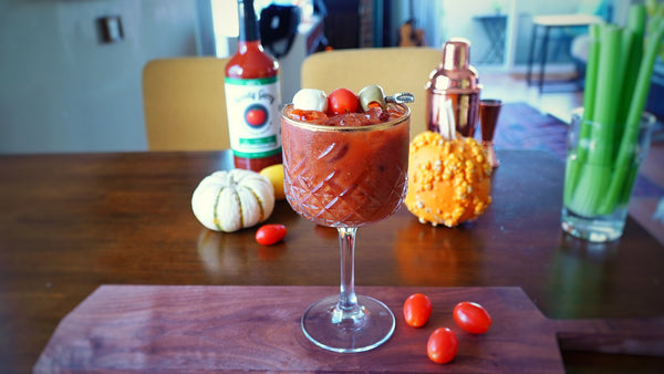 High Brow Bloody Mary in Gold Rim Coupe Glass Classic Bloody Mary