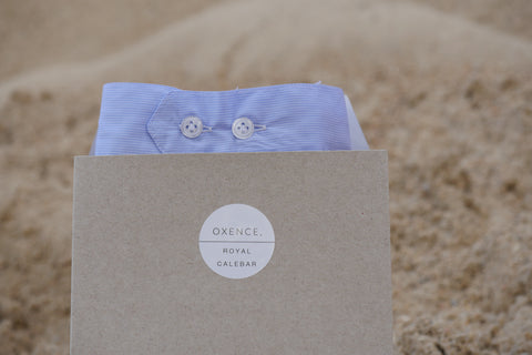 The Oxence Men underwear in blue Twill little white stripes