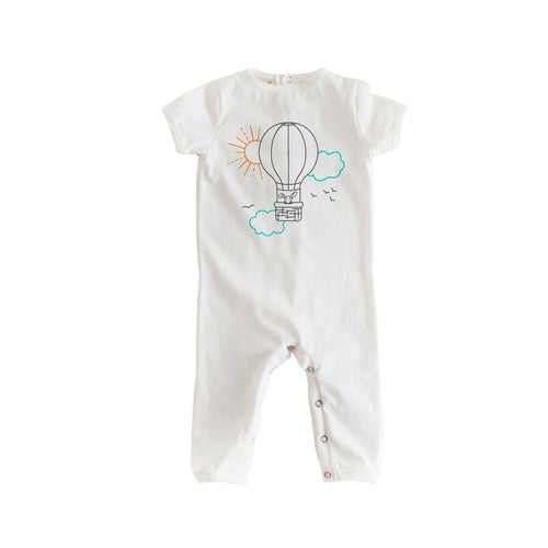 Short Sleeve White Balloon Romp