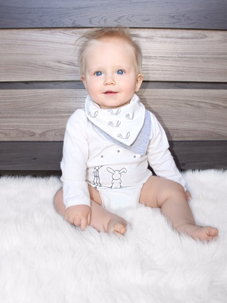 Waterproof Bandana Bib White Wagon