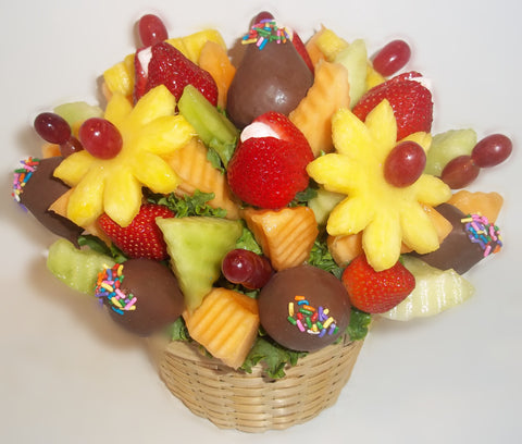 Easy Pickins with Chocolate Strawberry Arrangement