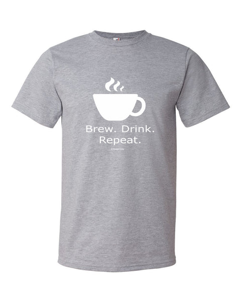Brew Drink Repeat Heather Grey T-Shirt