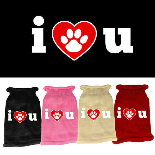 I Love You Screen Print Knit Pet Sweater