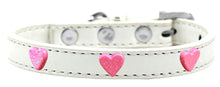 Pink Glitter Heart Widget Dog Collar