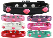 Pink Glitter Lips Widget Dog Collar