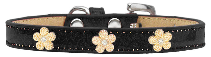 Gold Flower Widget Dog Collar Black Ice Cream
