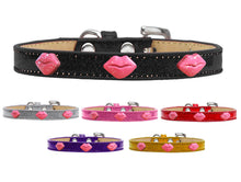 Pink Glitter Lips Widget Ice Cream Dog Collar