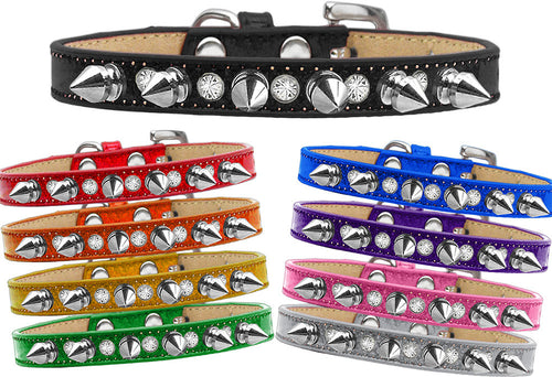 Crystal and Silver Spikes Punk Rock Dog Collar