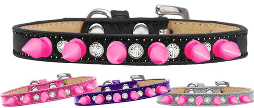 Crystal and Pink Spikes Punk Rock Dog Collar