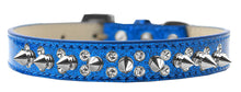 Double Crystal and Silver Spikes Dog Collar