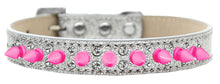 Double Crystal and Bright Pink Spikes Dog Collar