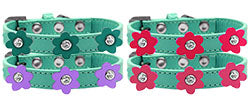 Flower Premium Dog Collar Aqua