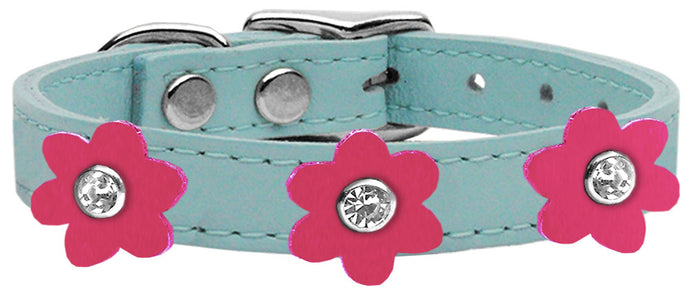Flower Leather Dog Collar Baby Blue