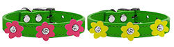 Flower Leather Dog Collar Emerald Green