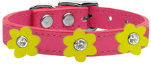 Flower Leather Collar Pink
