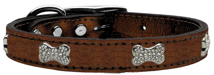 Geniune Metallic Leather Crystal Bone Dog Collars