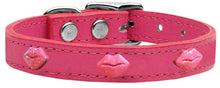 Pink Glitter Lips Widget Genuine Leather Dog Collar