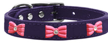 Pink Glitter Bow Widget Genuine Leather Dog Collar