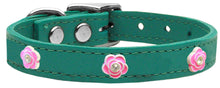 Bright Pink Rose Widget Genuine Leather Dog Collar