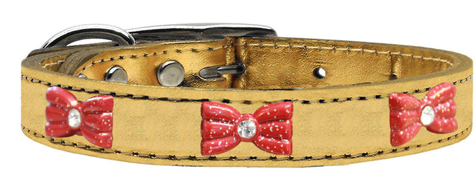 Red Glitter Bow Widget Genuine Metallic Leather Dog Collar