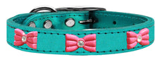 Pink Glitter Bow Widget Genuine Metallic Leather Dog Collar