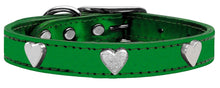 Silver Heart Widget Genuine Metallic Leather Dog Collar