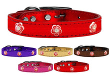Red Rose Widget Genuine Metallic Leather Dog Collar