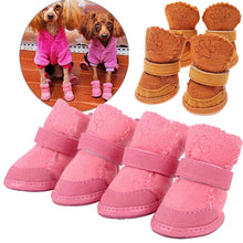 Pet Dog Shoes Winter Super Warm 4pcs Dog's Boots Cotton Anti Slip Shoes for Small Pet Product ChiHuaHua