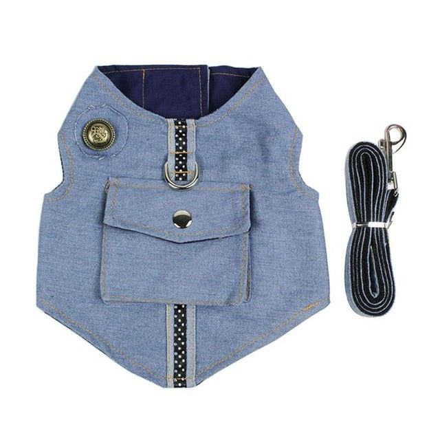 Denim Dog Vest Set