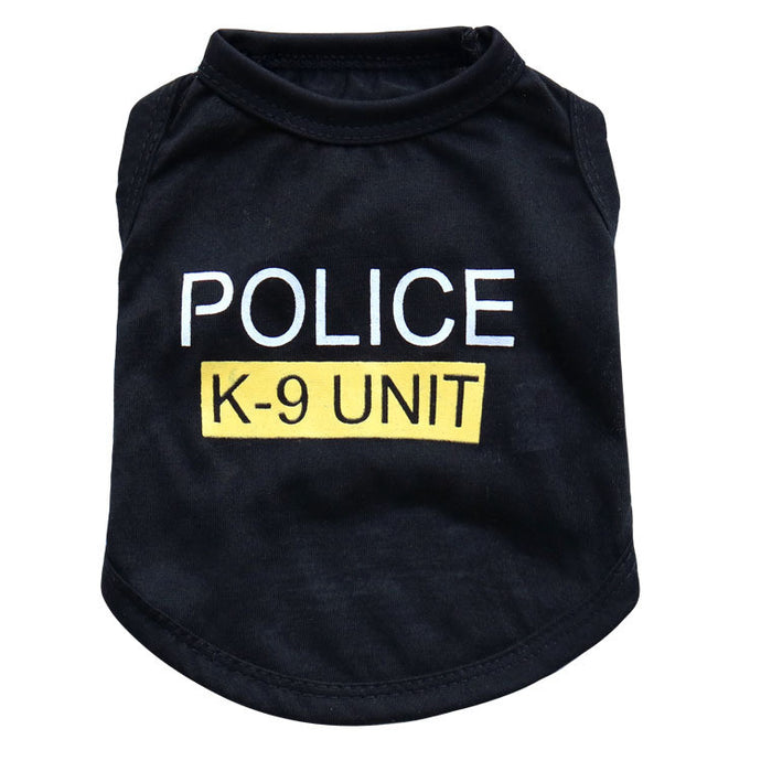 Pet Product  Police Printed Vest Costumes Summer Coat Letter Printed Outerwear Clothing Dog Cat Vest T Shirt Apparel Clothing