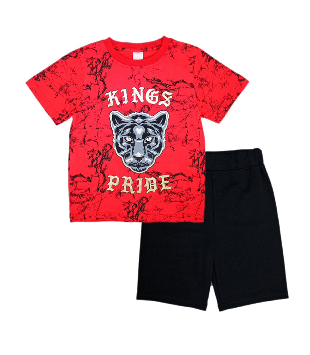 -S1OPE Red Jersey Top with King Pride Screen  And French Terry Shorts