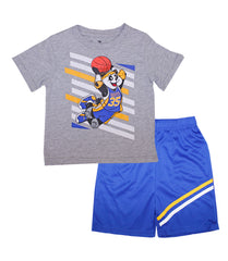 -S1OPE Grey Top with Panda Basketball Screen and Athletic Shorts