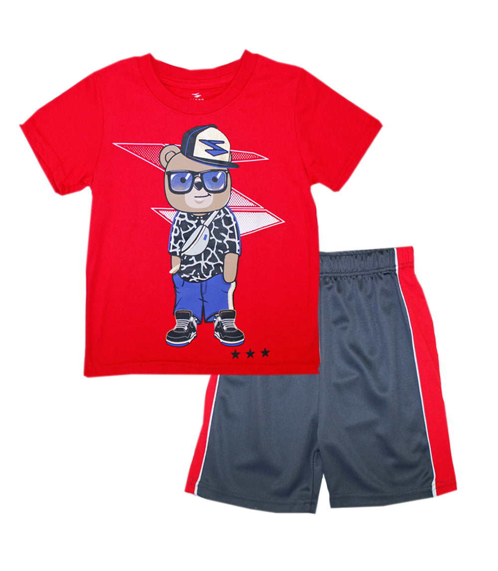 -S1OPE Red Bear Screen Top with Athletic Mesh Short Sets