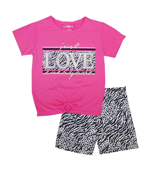 -GIRLS PINK Pink Love Screen Top And Woven Shorts