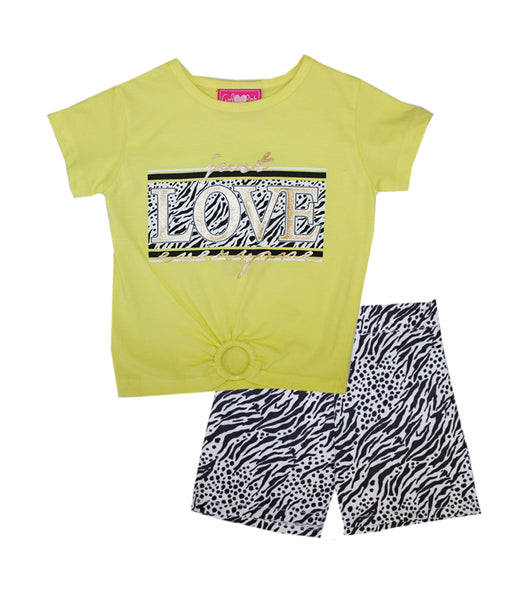 -GIRLS PINK Lime Love Screen Top And Woven Shorts