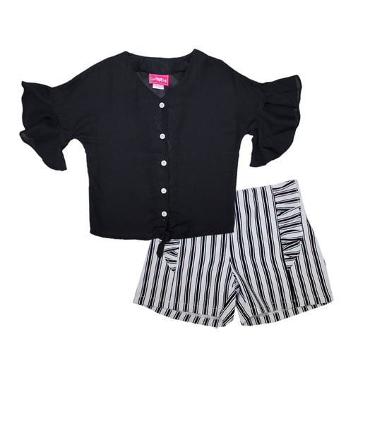 -GIRLS PINK Black Moss Top with Tie Up Ruffle Sleeve And Shorts