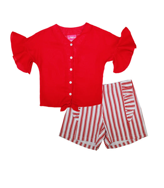 -GIRLS PINK Red Moss Top with Tie Up Ruffle Sleeve And Shorts