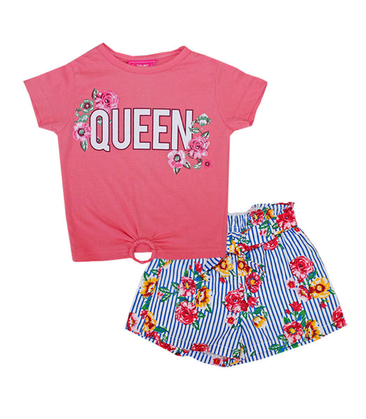 -GIRLS PINK Queen Screen Top And Stripe Flower Print Shorts