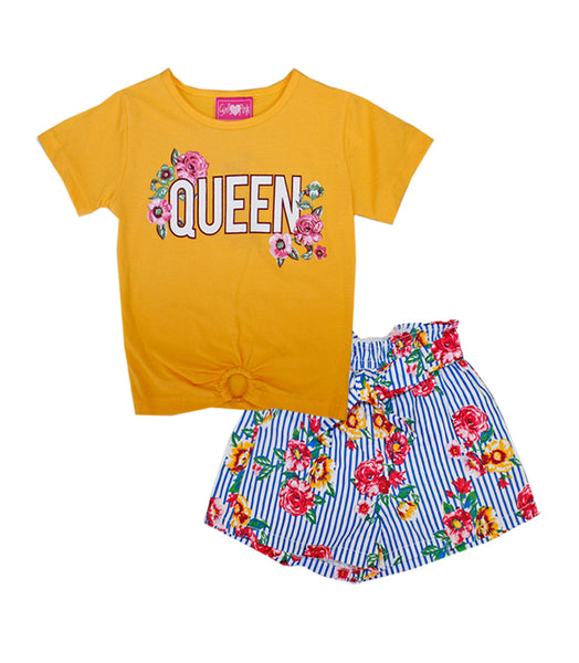 -GIRLS PINK Yellow Queen Screen Top And Stripe Flower Print Shorts