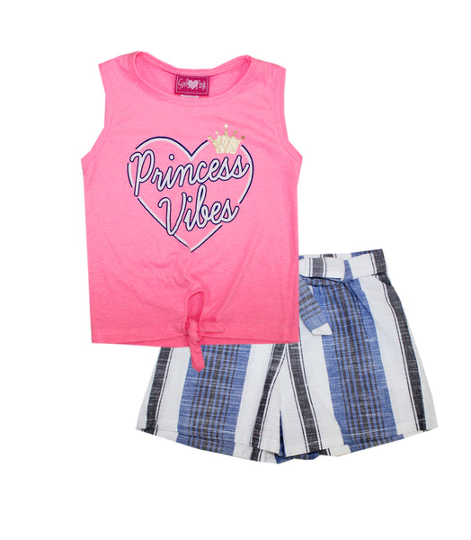 -GIRLS PINK Princess Vibes Screen Top and Woven Shorts