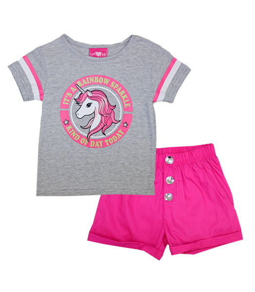 -GIRLS PINK Grey Unicorn Screen Top and Twill Shorts