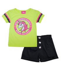 -GIRLS PINK Lime Unicorn Screen Top and Twill Shorts